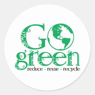 Go Green Classic Round Sticker