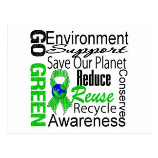 Go Green Collage Postcard