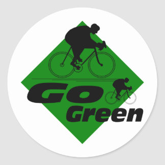 Go Green Cycle Classic Round Sticker