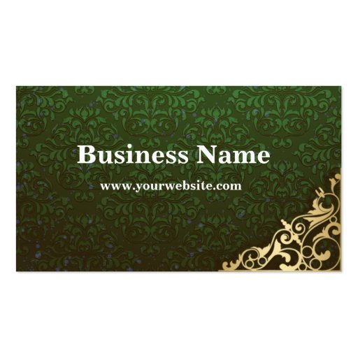 Go green damask business card zazzle for Go business cards