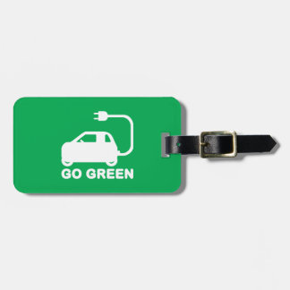 Go Green ~ Drive Electric Cars Bag Tags