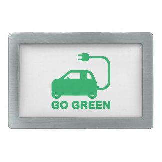 Go Green ~ Drive Electric Cars Belt Buckle