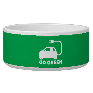 Go Green ~ Drive Electric Cars Dog Water Bowl