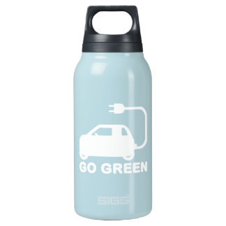 Go Green ~ Drive Electric Cars Insulated Water Bottle