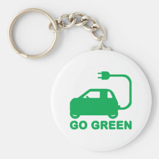 Go Green ~ Drive Electric Cars Key Chain