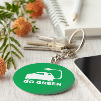 Go Green ~ Drive Electric Cars Keychain