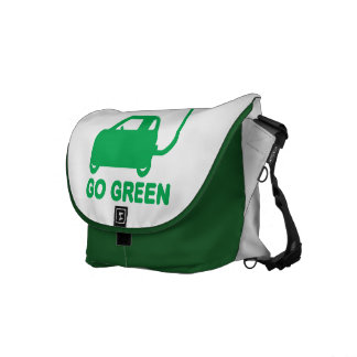 Go Green ~ Drive Electric Cars Messenger Bags