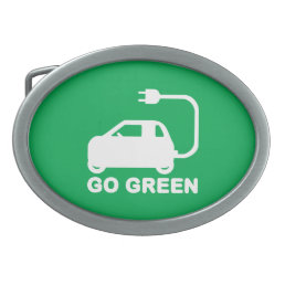 Go Green ~ Drive Electric Cars Oval Belt Buckle