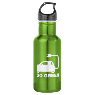 Go Green ~ Drive Electric Cars Stainless Steel Water Bottle