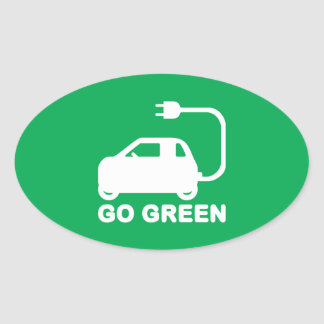 Go Green ~ Drive Electric Cars Oval Sticker
