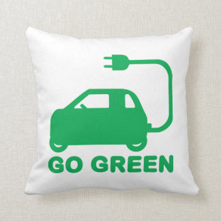 Go Green ~ Drive Electric Cars Throw Pillow