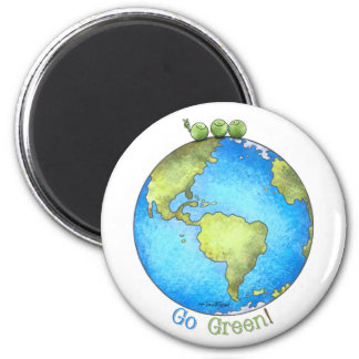Go Green - Earth Day 2 Inch Round Magnet