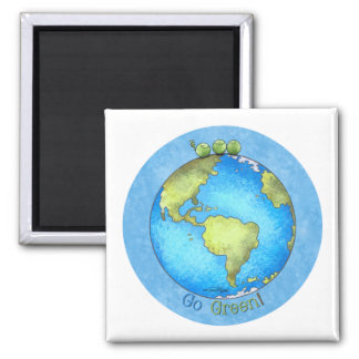 Go Green - Earth Day 2 Inch Square Magnet