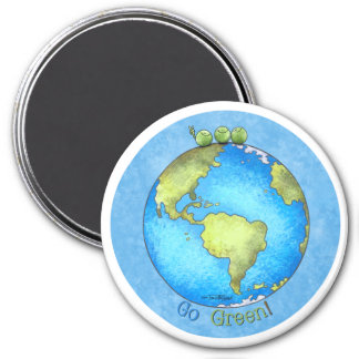 Go Green - Earth Day 3 Inch Round Magnet