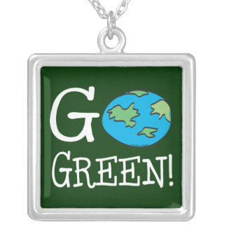 Go Green Earth Day Silver Plated Necklace