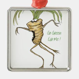 Go Green - Eat Me!, tony fernandes Metal Ornament