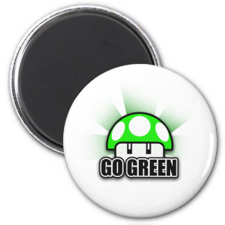 Go Green Eco Friendly Nature Mushroom 2 Inch Round Magnet