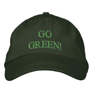 GO GREEN! EMBROIDERED BASEBALL CAP