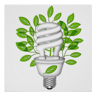 Go Green Energy Saving Lightbulb IllustratioPoster Poster