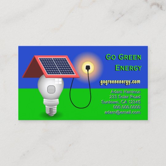 Go green energy solar power business cards zazzle go green energy solar power business cards reheart Gallery