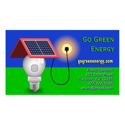 Go green energy solar power business cards business card for Go business cards