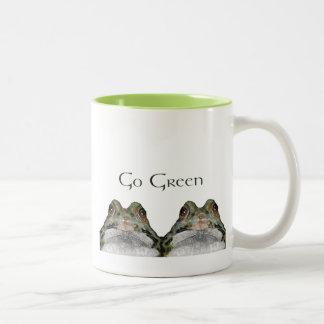 Go GreeN Environment: Two Cute Frogs: Art Two-Tone Coffee Mug