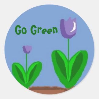 Go Green Flower Garden Classic Round Sticker