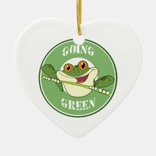 Go Green Frog Double-Sided Heart Ceramic Christmas Ornament
