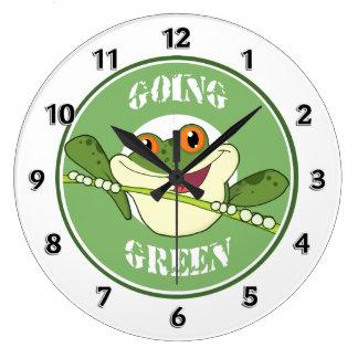 Go Green Frog Large Clock