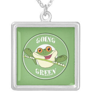 Go Green Frog Silver Plated Necklace