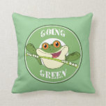 Go Green Frog Throw Pillows