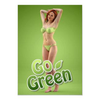 Go Green Girl Belle 5x7 Paper Invitation Card