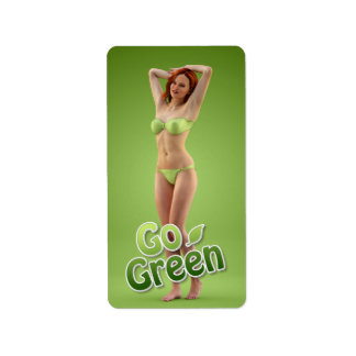 Go Green Girl Belle Personalized Address Label