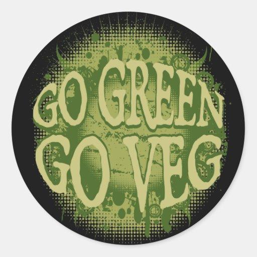 Go Green, Go Veg Classic Round Sticker