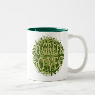 Go Green, Go Veg Two-Tone Coffee Mug