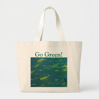 Go Green Golden Fish on Green Jumbo Tote