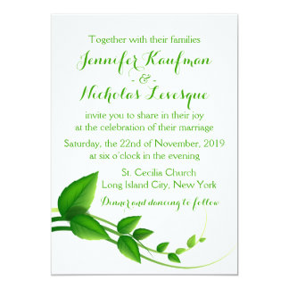 Go Green! Green And White Leaves Wedding Card