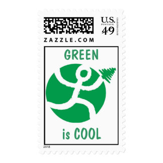Go Green GREEN is COOL Postage