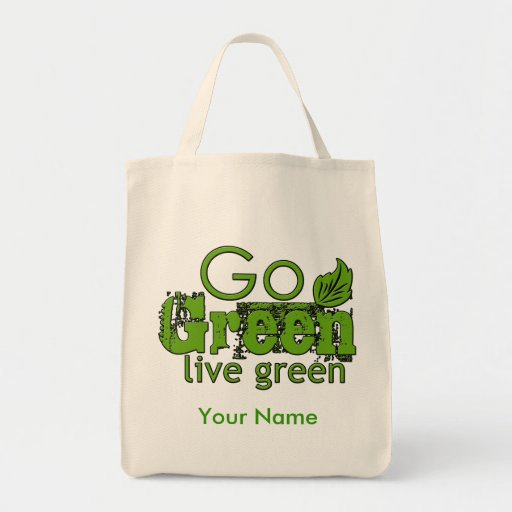 Go Green Grocery Tote Canvas Bags