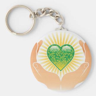 Go Green Hands Key Chain