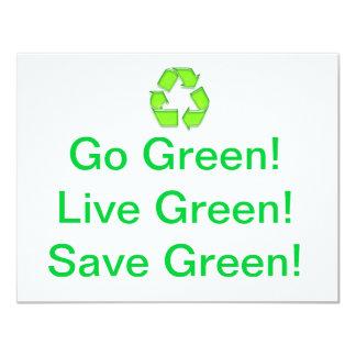 "Go Green 4.25"" X 5.5"" Invitation Card"