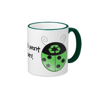 Go green!, ladybug mug