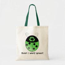 Go green!, ladybug tote bag