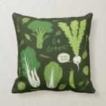 Go Green! (Leafy Green!) Cute Veggies Throw Pillow