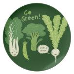 Go Green! (Leafy Green!) Happy Garden Veggies Dinner Plate