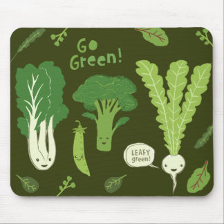Go Green! (Leafy Green!) Happy Veggie Garden Mouse Pad