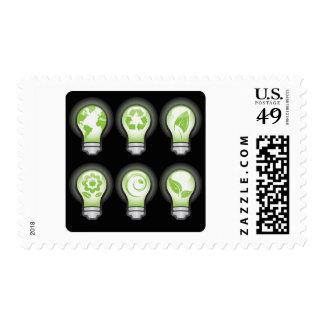 Go Green Lightbulbs Postage Stamps