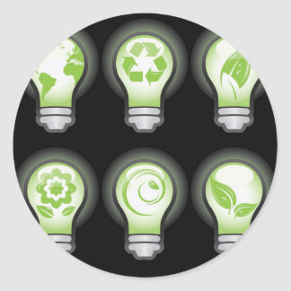 Go Green Lightbulbs Round Sticker