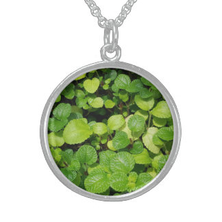 Go Green Lively Leaves Silver Round Necklace