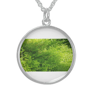 Go Green Lively Plant Silver Round Necklace